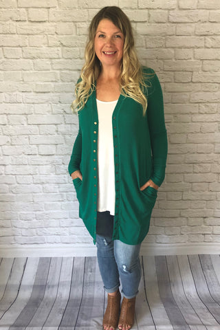 Long Snap Cardigan - Kelly Green