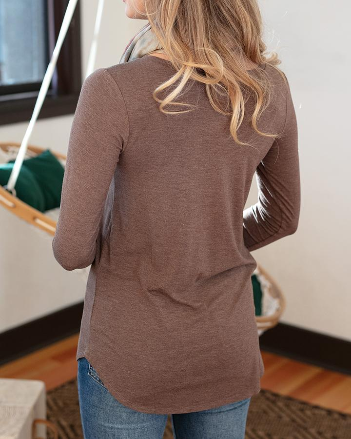 Grace and Lace Long Sleeve Perfect Pocket Tee - Heathered Chocolate