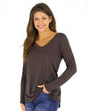 Grace and Lace Long Sleeve Perfect Pocket Tee - Portabello