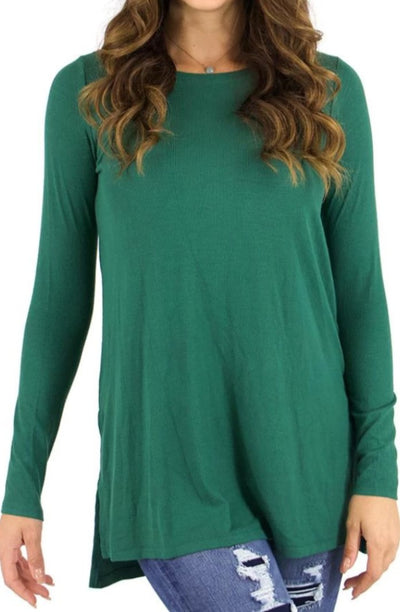 Grace and Lace Long Sleeve Tunic Tee - Ribbed Evergreen