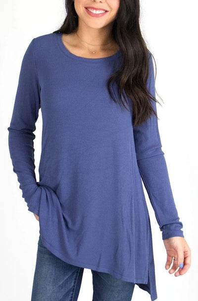 Grace and Lace Long Sleeve Tunic Tee - Ribbed Blue Heron