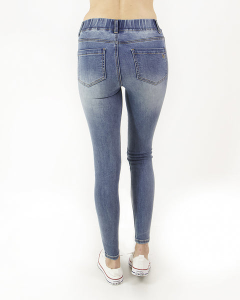 Grace and Lace Classic Mid Rise Pull On Jegging - Mid Wash