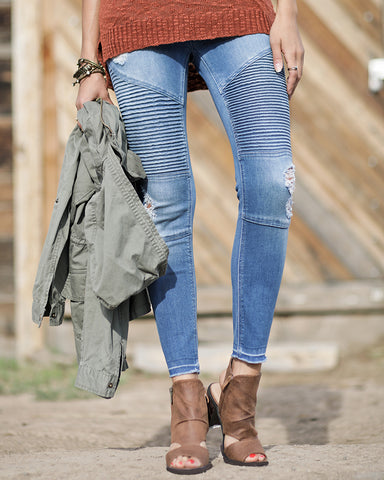 Grace and Lace Mid-Rise Denim Moto Jegging