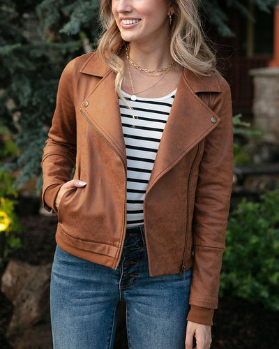 ***PRE-ORDER*** Grace and Lace Move Free Leather Look Moto Jacket - Camel