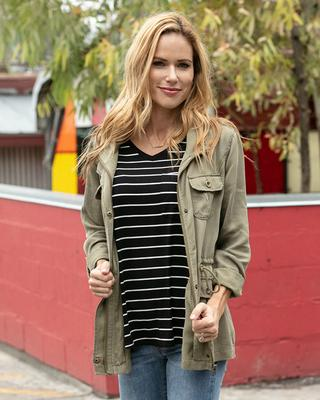 Grace and Lace Perfect Pocket Tee - Black with White Stripes