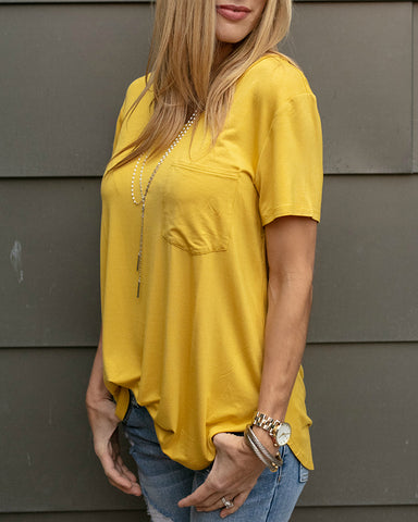 Grace and Lace Perfect Pocket Tee - Mustard
