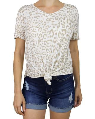 Grace and Lace Perfect Pocket Tee - Ivory Leopard