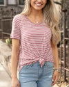 Grace and Lace Perfect Pocket Tee - Mauve Stripe