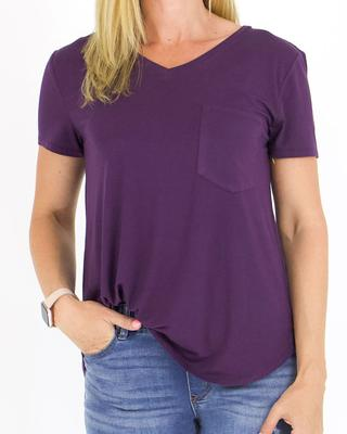 Grace and Lace Perfect Pocket Tee - Acai