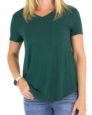 Grace and Lace Perfect Pocket Tee - Dark Forest