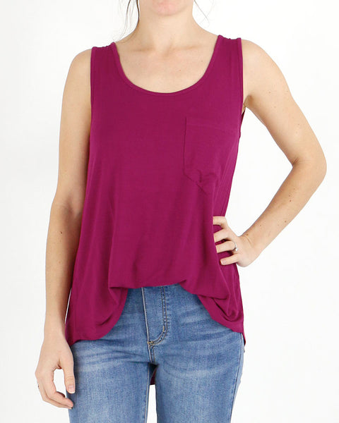 Grace and Lace Perfect Pocket Tank - Berry