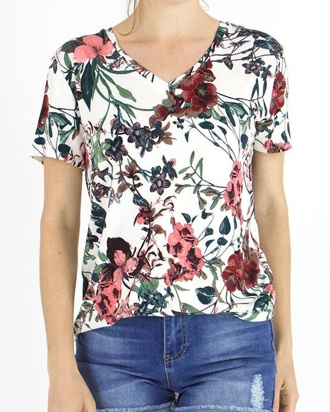 Grace and Lace Perfect V-Neck Tee - Ivory Floral