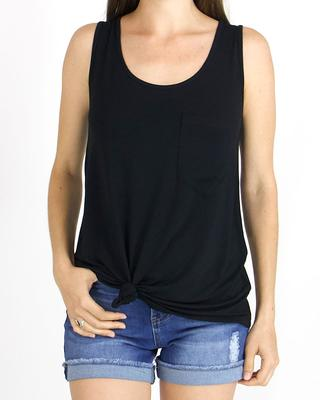 Grace and Lace Perfect Pocket Tank - Black