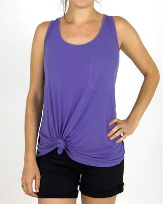 Grace and Lace Perfect Pocket Tank - Iris Bloom