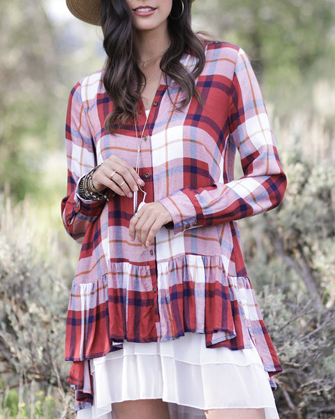 Grace and Lace Ruffle Plaid - Cayenne/Ivory