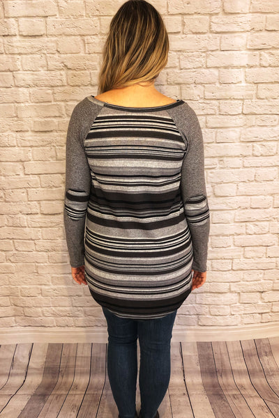 Striped Raglan Tunic with Elbow Patches - Black/Grey