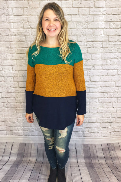 Colourblock Tunic - Emerald/Mustard/Navy