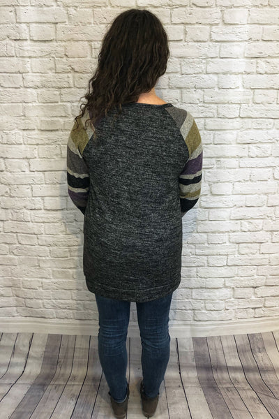 Striped Sleeve Tunic - Charcoal