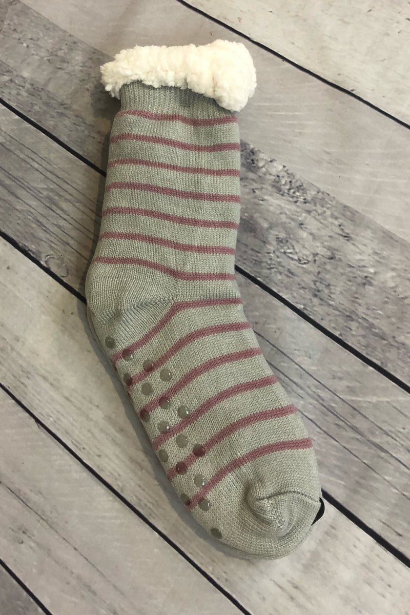 Plush Reading Socks - Grey/Pink Stripes