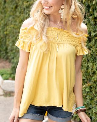 Grace and Lace Sunny Smocked Top - Limoncello