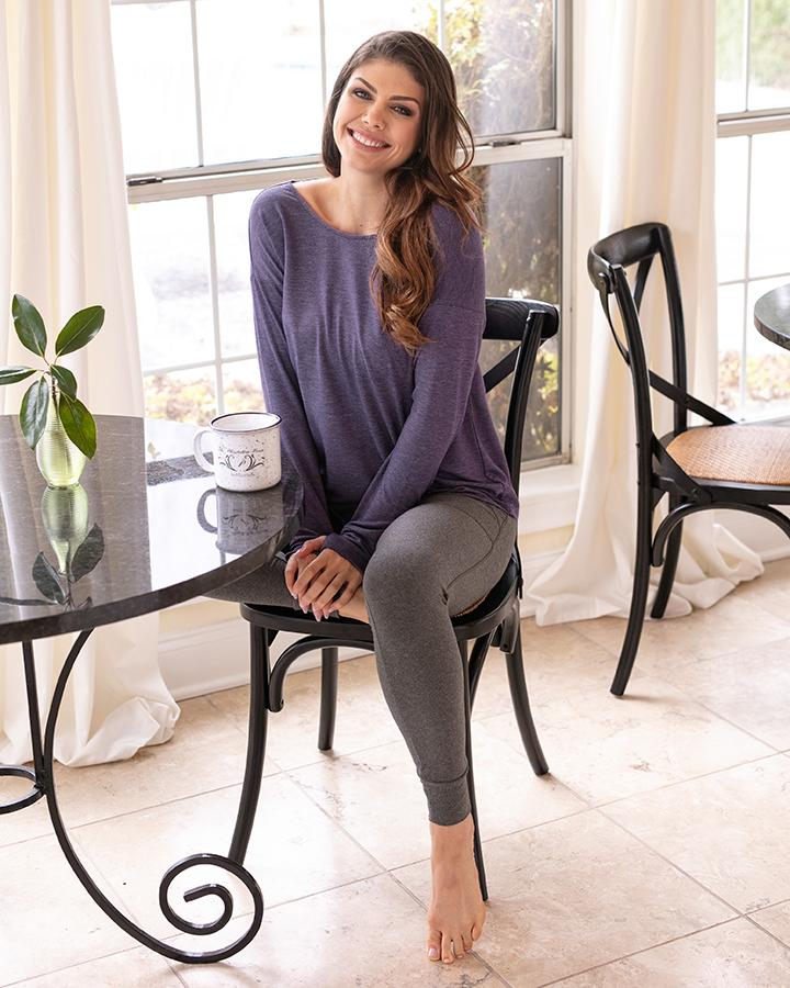 Grace and Lace Twist Back Pullover - Loganberry