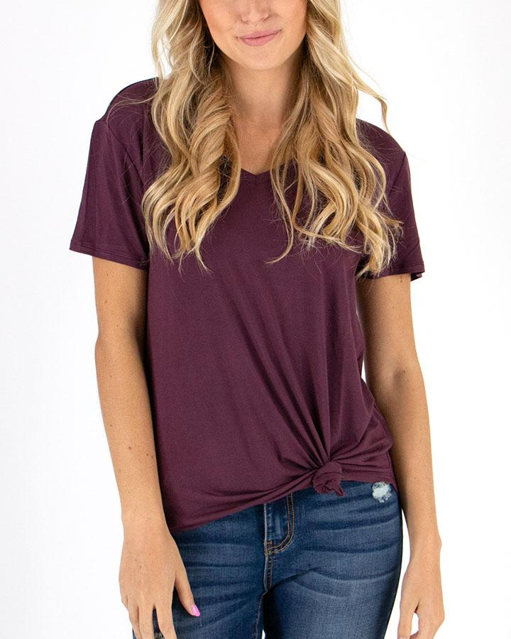 Grace and Lace Perfect V-Neck Tee - Mahogany