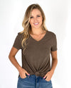 Grace and Lace Perfect V-Neck Tee - Heathered Chocolate