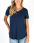 Grace and Lace Perfect V-Neck Tee - Heathered Navy