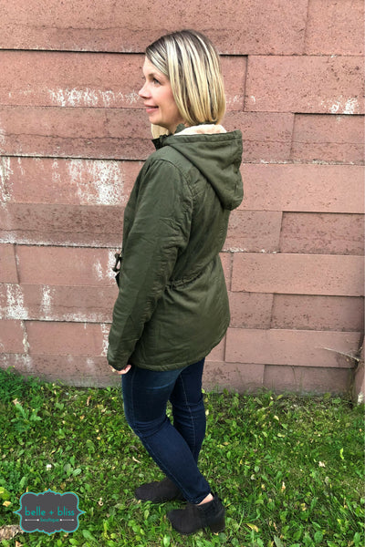 Twill Faux Fur Lined Jacket - Olive