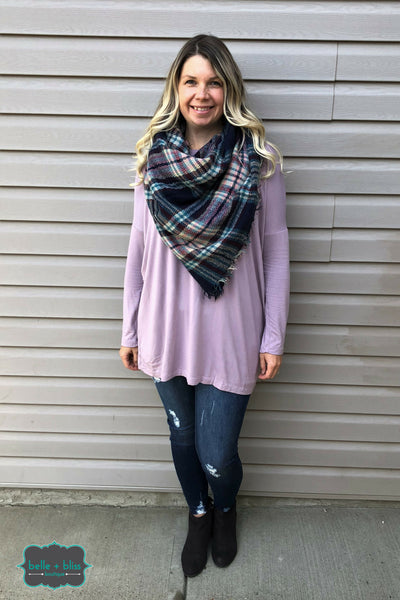 Bamboo Long Sleeve Tunic - Icy Mauve