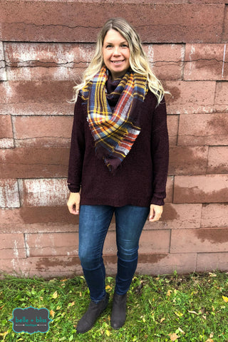 Blanket Scarf - Plum Pudding