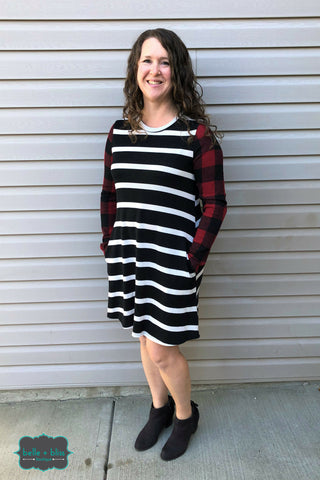 Striped Buffalo Plaid Tunic Dress with POCKETS