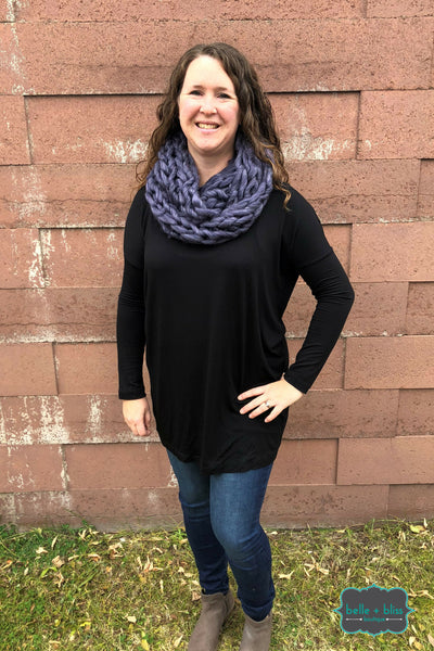 Chunky Knit Infinity Scarf - Smoky Blueberry