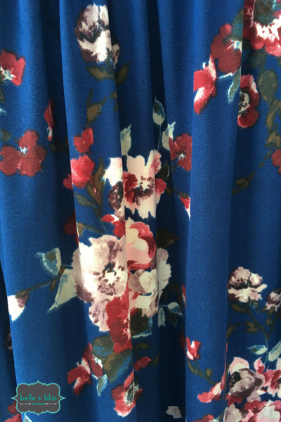 Floral Dress with Pockets - Cobalt