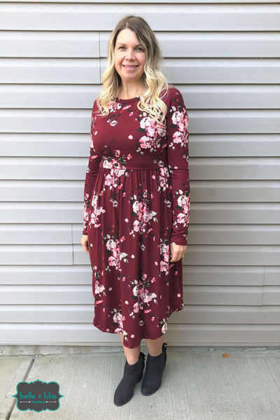 Floral Dress with Pockets - Cranberry