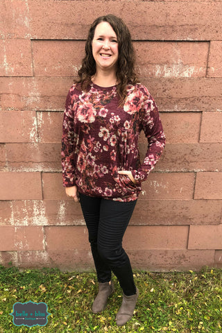 Floral Tunic with Pockets - Merlot