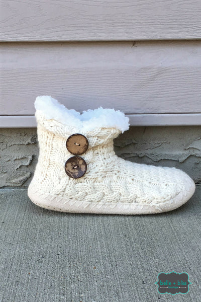 Knit Booties with Buttons - Cream
