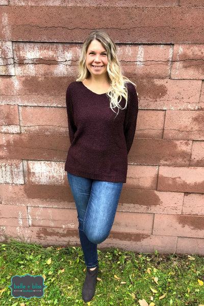 Plush Pullover Sweater - Plum