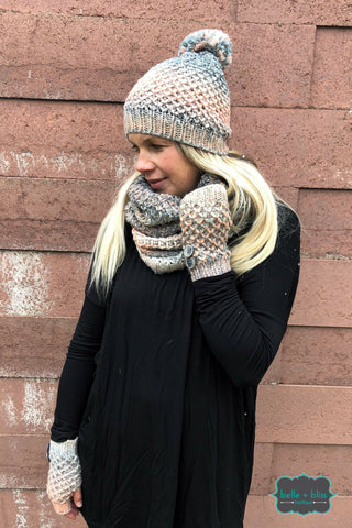 3 Piece Knit Winter Set - Pastel Accessories