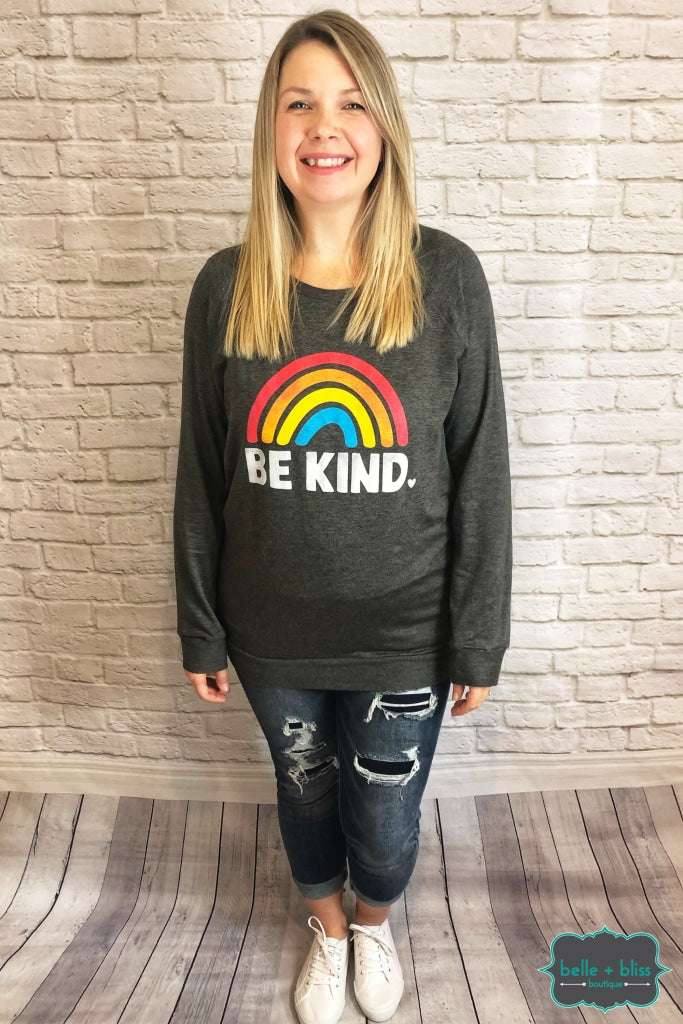 Be Kind Graphic Pullover - Charcoal B+B Crew