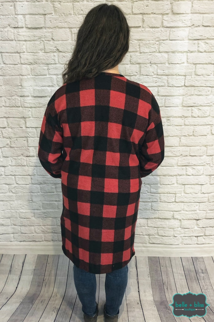 Buffalo Plaid Cardigan With Buttons And Pockets - Red B+B Crew