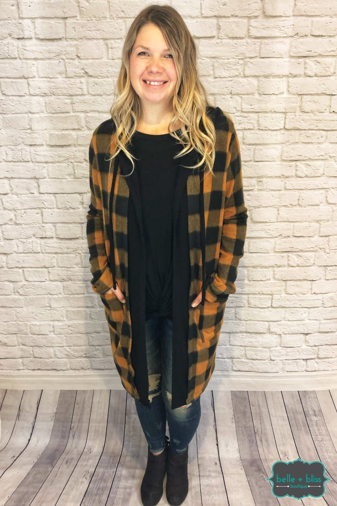 Buffalo Plaid Cardigan With Hood And Pockets - Copper B+B Crew