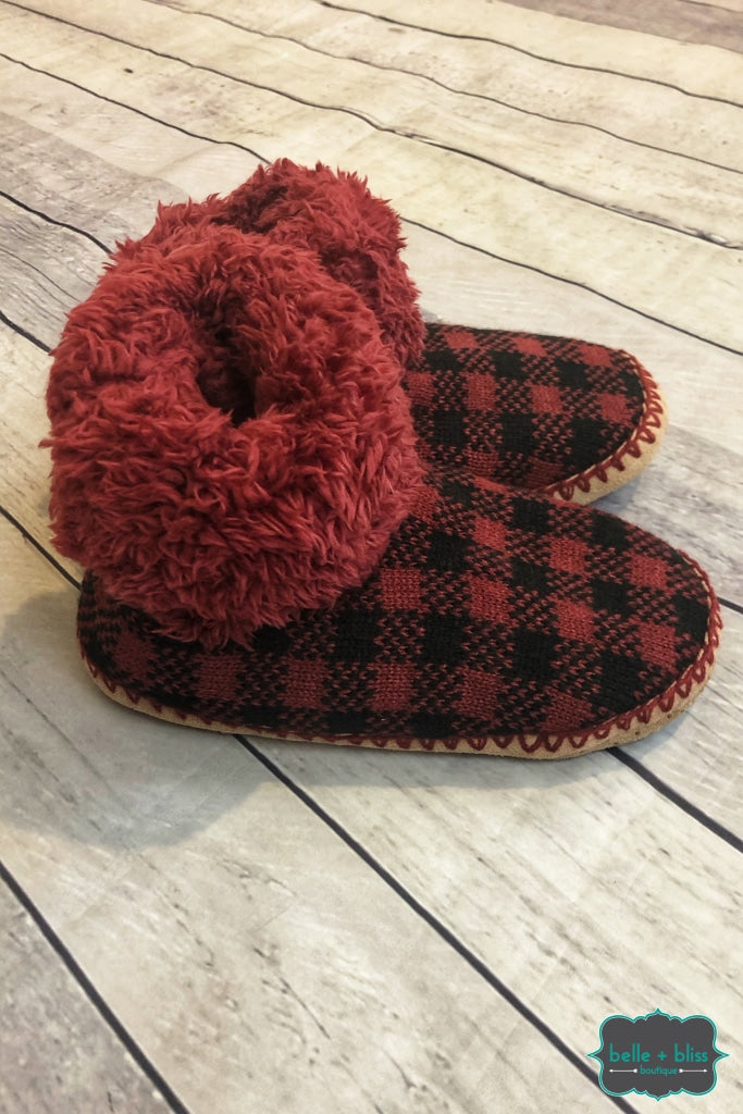 Buffalo Plaid Knit Booties - Red/black B+B Crew