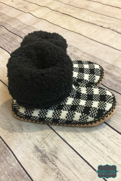 Buffalo Plaid Knit Booties - White/black B+B Crew
