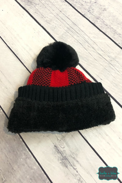 Buffalo Plaid Plush Lined Knit Toque With Faux Fur Pom - Red Accessories