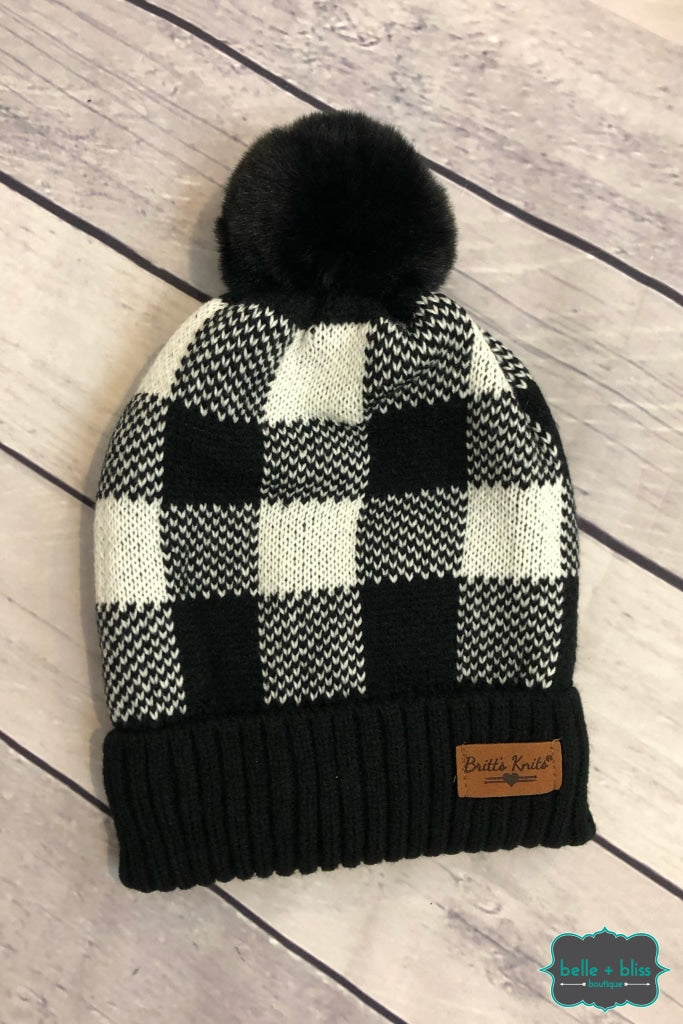 Buffalo Plaid Plush Lined Knit Toque With Faux Fur Pom - White Accessories