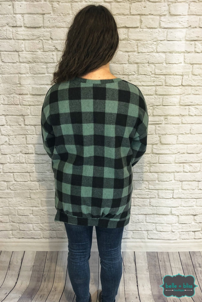 Buffalo Plaid Pullover With Pocket - Spearmint B+B Crew