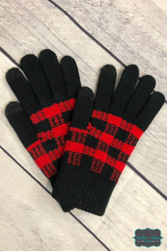 Buffalo Plaid Touch To Text Gloves - Red Accessories