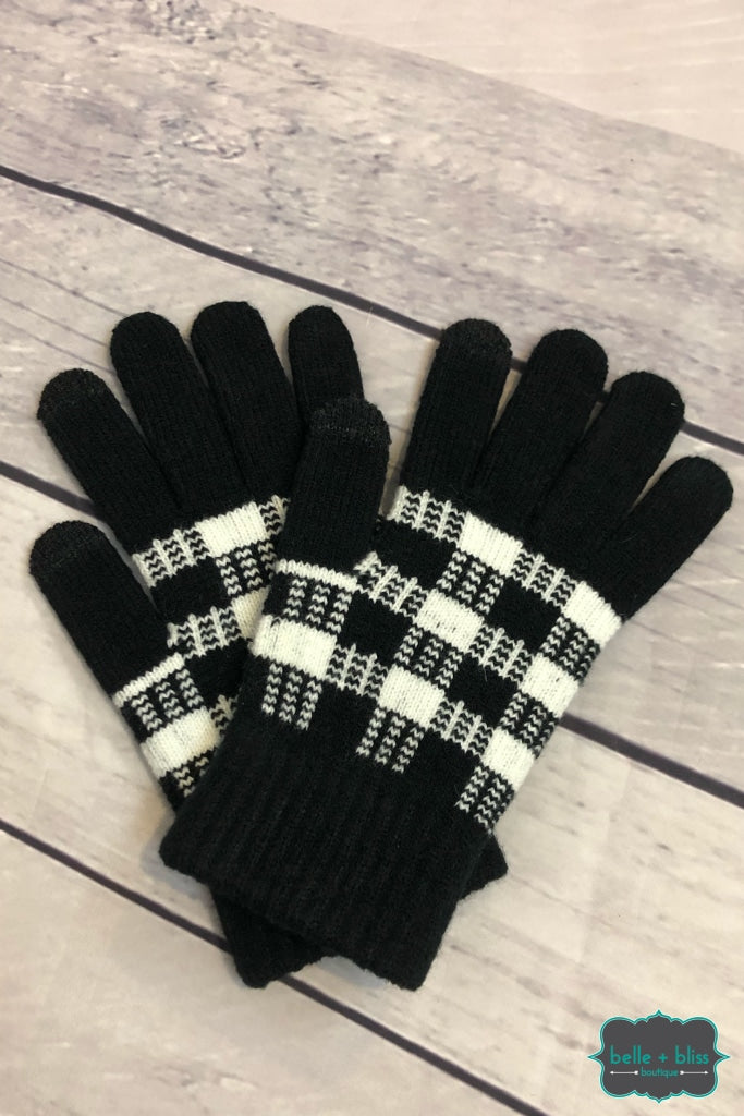 Buffalo Plaid Touch To Text Gloves - White Accessories