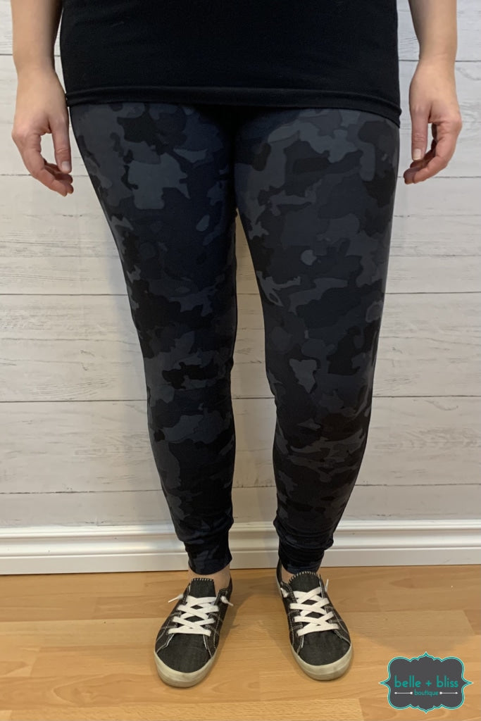 Buttery Soft Joggers With Pockets - Black Camo Bottoms
